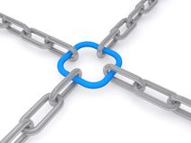 Linked chains. Illustration of four chains linked by a blue loop Royalty Free Stock Photos