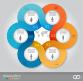 Linked circles presentation template Royalty Free Stock Images