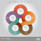 Linked circles presentation template. 5 options linked circles in origami style infographics presentation template Royalty Free Stock Photography