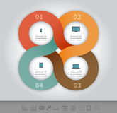 Linked circles presentation template. 4 options linked circles in origami style infographics presentation template Royalty Free Stock Photos