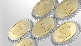 Linked gear with a dollar and euro sign Royalty Free Stock Photo