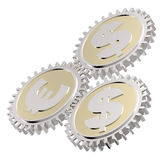 Linked gear with a dollar and euro sign Stock Image