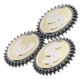 Linked gear with a dollar and euro sign Royalty Free Stock Image