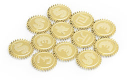 Linked gear with a money sign. Stock Image