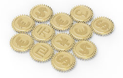 Linked gear with a money sign Royalty Free Stock Photos