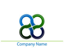 Linked gears. Isolated illustrated logo design vector illustration