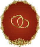 Linked gold heart Stock Photo