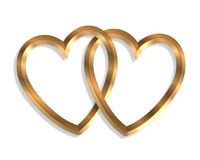Linked Gold Hearts 3D graphic. 3D illustration 2 gold hearts linked together clipart symbol of love or icon Royalty Free Stock Image