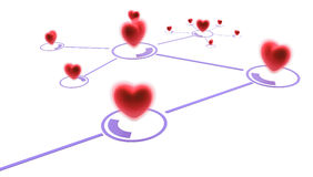 Linked Heart Branch. Small linked red hearts, 3d abstract, horizontal Stock Photography