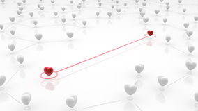 Linked Heart Couple. Small linked red hearts, 3d abstract, horizontal Royalty Free Stock Photos