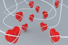 Linked hearts. Love theme 3d illustration Royalty Free Stock Photos