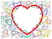 Linked hearts. Isolated line art design Royalty Free Stock Photos