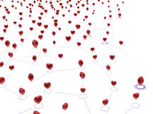 Linked Hearts Network. Small linked red hearts, 3d abstract, horizontal Royalty Free Stock Photography