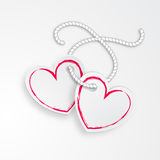 2 Linked Hearts. With rope and shadows isolated on a white background Royalty Free Stock Photos