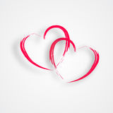 2 Linked Hearts. With shadows isolated on a white background Stock Photography