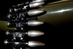 Linked 30 mm cannon shells. Linked 30 mm cannon shells ready to load into the magazine of fighter aircraft weapon royalty free stock photos