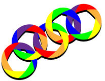Linked Rainbow Rings. Rings of rainbow colors are linked together in an abstract background illustration with space for text royalty free illustration