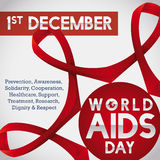 Linked Red Ribbons United to Commemorate World AIDS Day, Vector Illustration. Poster with linked ribbons for World AIDS Day commemorating the worldwide union and Stock Photo