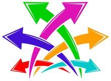 Linked six arrows. Isolated line art logo design Royalty Free Stock Photos