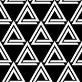 Linked triangles black and white geometric abstract seamless pattern, vector. Background stock illustration