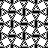 Linked triangles black and white geometric abstract seamless pattern, vector. Background royalty free illustration