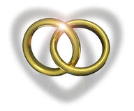 Linked wedding rings. Casting heart shadow Royalty Free Stock Image