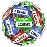Linked Word Name Tags Sphere Connecting Networking Royalty Free Stock Images