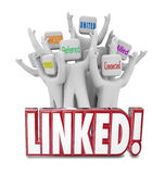 Linked Words Connected Allied United Referrals People Networking Stock Photo