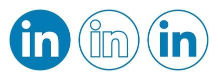 LinkedIn回合在白色隔绝的象传染媒介 库存例证