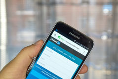 Linkedin  application on android smartphone Royalty Free Stock Images