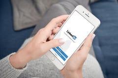 LinkedIn application on the screen of Apple Iphone 8 plus. Kyiv, Ukraine - January 24, 2018:  LinkedIn application on the screen of Apple Iphone 8 plus. LinkedIn Stock Photography