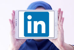 Linkedin logo. Linkedin application logo and vector on samsung tablet holded by arab muslim woman Royalty Free Stock Photo