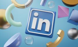 Free LinkedIn Logo Around 3D Rendering Abstract Shape Background Stock Photography - 187830492