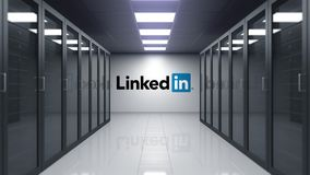 LinkedIn logo on the wall of the server room. Editorial 3D animation