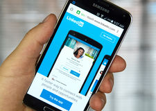 Linkedin mobile application on a cell phone. Royalty Free Stock Photos