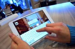 LinkedIn nätverk Arkivfoto