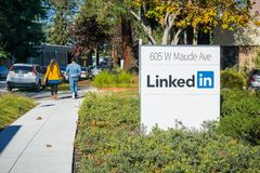 LinkedIn sign at the Sunnyvale offices. November 17, 2017 Sunnyvale/CA/USA - LinkedIn sign at the Sunnyvale offices, Silicon Valley, San Francisco bay area stock images