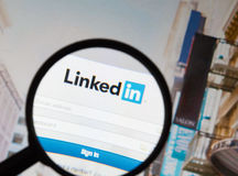 Linkedin - social networking site. Royalty Free Stock Photo