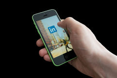 LinkedIn startup screen on an iphone 5C Royalty Free Stock Image