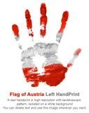 Linker Handdruck in den Österreich-Flaggenfarben auf Weiß lokalisierte Hintergrund Stockfoto