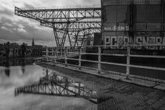 Linkeroverschotten van eens een grote industriezone in Maastricht royalty-vrije stock fotografie