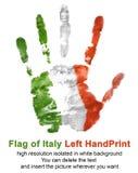Linkes Handimpressum in der Italien-Flaggenfarbe lokalisiert auf weißem Hintergrund Lizenzfreie Stockfotografie