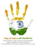 Linkes handprint in der Farbe der Flagge Indien, Gouacheimpressum von nationalen indischen Farben lokalisiert Lizenzfreie Stockfotografie