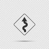 Linkes Zeichen der kurvenreichen Straße auf transparentem Hintergrund lizenzfreie abbildung