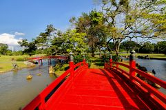 Linking bridges in Chinese Garden Stock Images
