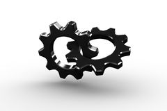 Linking chrome cog and wheel Stock Photos