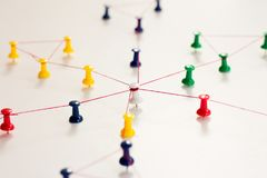 Linking entities. Monotone. Networking, social media, SNS, internet communication abstract. Small network connected to a larger ne royalty free stock images