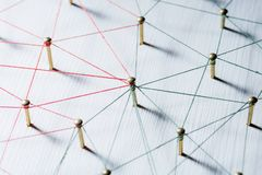 Linking entities. Network, networking, social media, connectivity, internet communication abstract. Web of thin thread royalty free stock photos