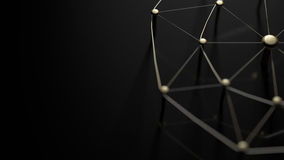 Linking entities. Network, networking, social media, internet communication abstract. Web of gold wires on black ground. Stock Photo