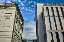 Linking of glass and aluminum between buildings library Royalty Free Stock Photography